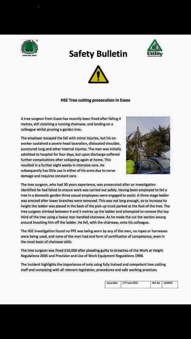 HSE - Safety Bulletin - Tree Cutting Prosecution in Essex